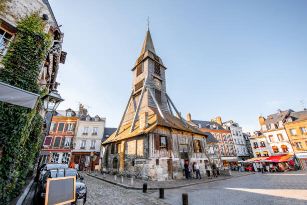 Old church in Honfleur, France Saint Catherine Old wooden church in Honfleur, famuos french town in Normandy calvados stock pictures, royalty-free photos & images