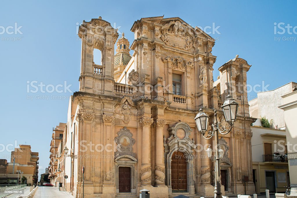 Old church in Marsala, Sicily stock photo