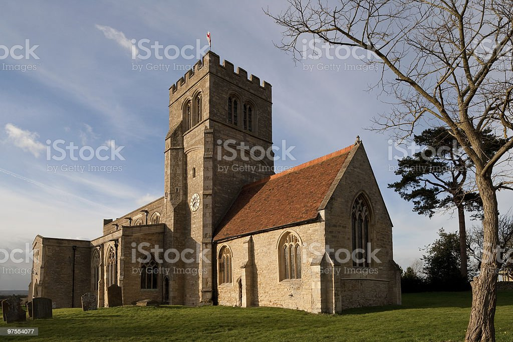 Old Church in Northamptonshire England stock photo