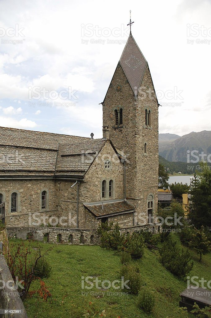 Old Church in St. Moritz royalty-free stock photo