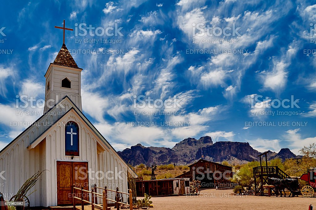 Old church in western town stock photo