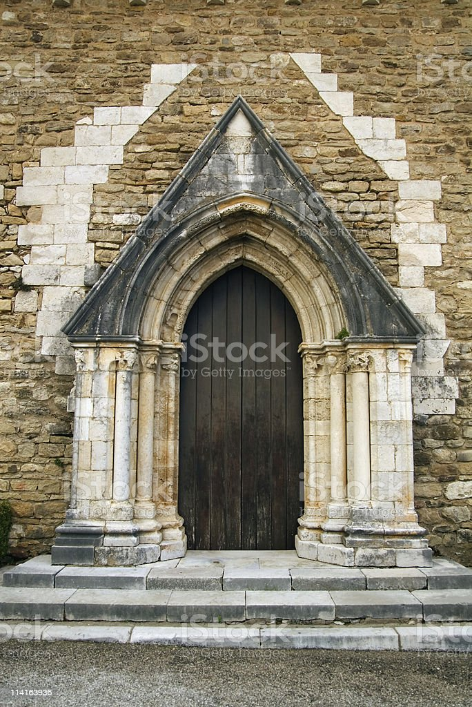 Old church lateral door royalty-free stock photo
