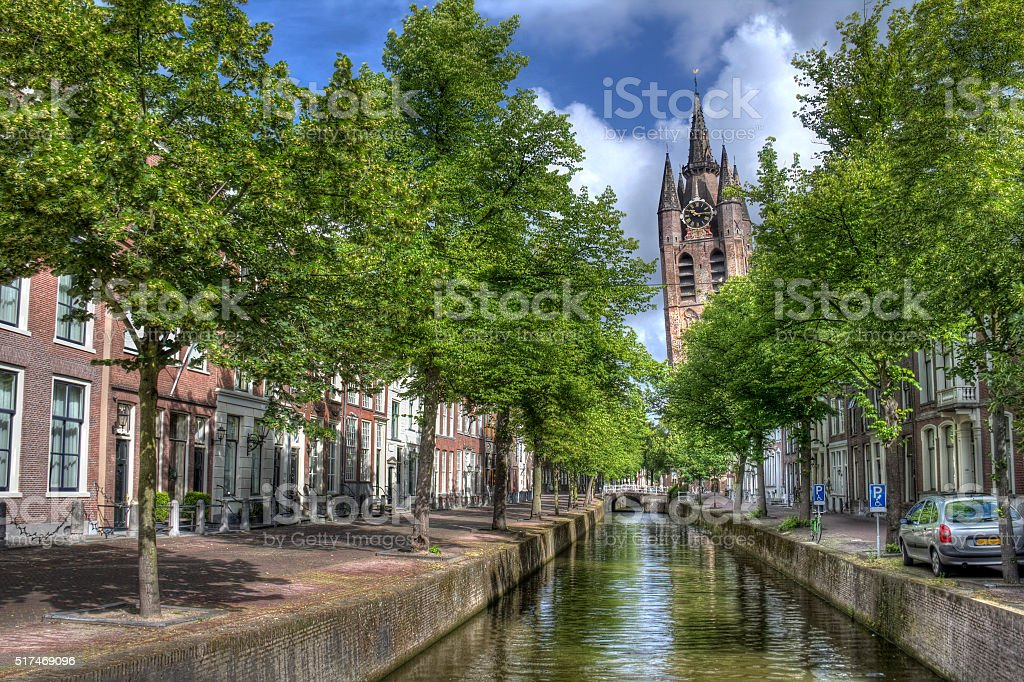 Old Church of Delft stock photo