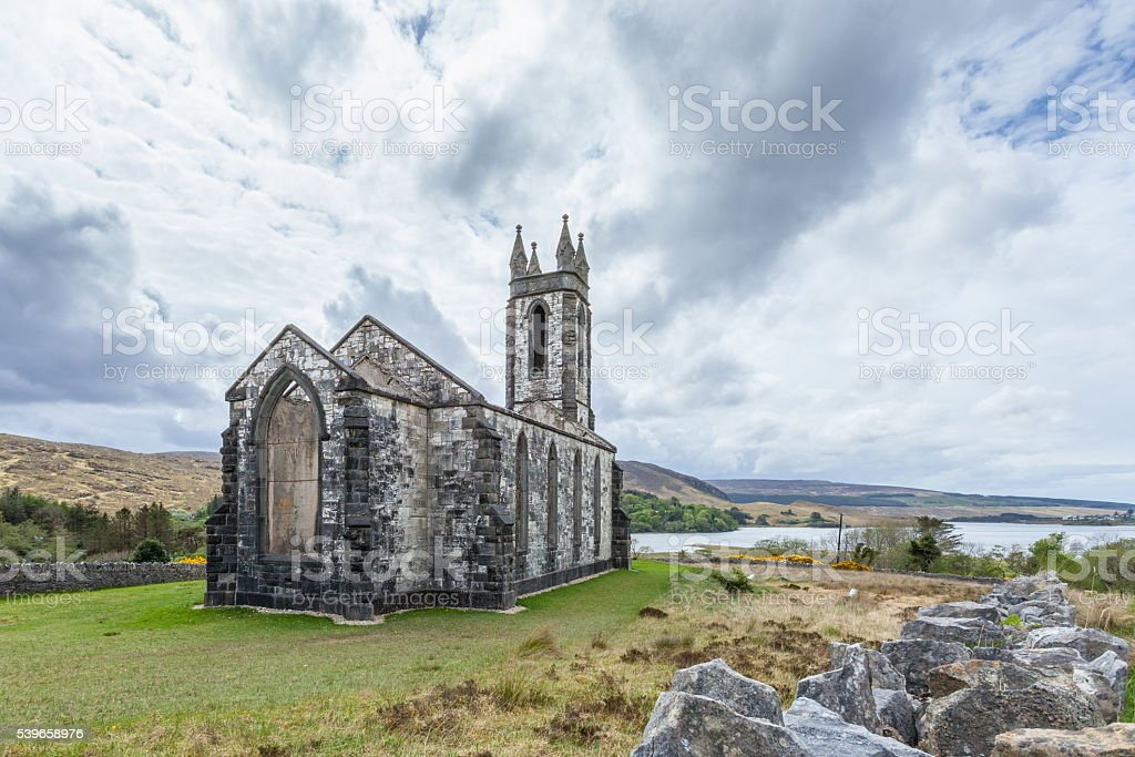 Old Church of Dunlewey stock photo