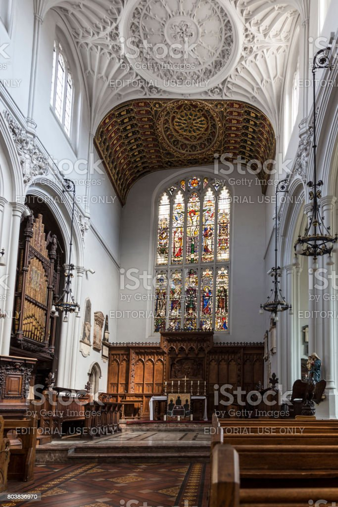 Old church of St Mary Aldermary in the City of London. stock photo