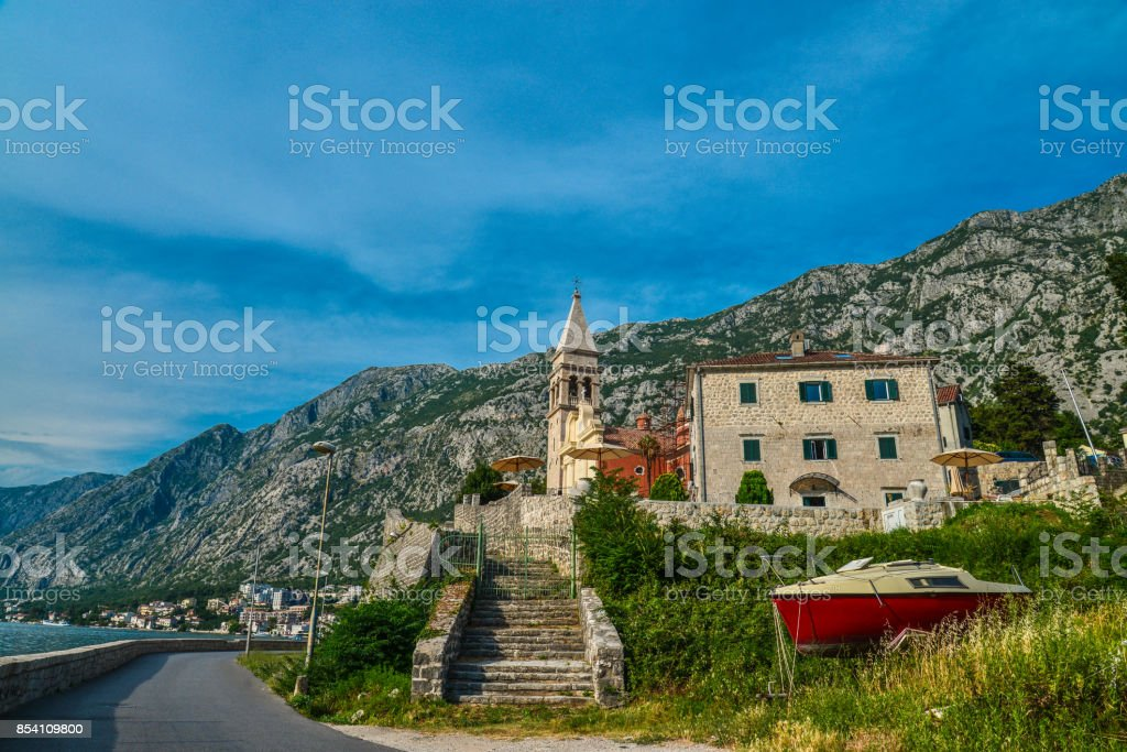 old church of the Bay of Kotor stock photo