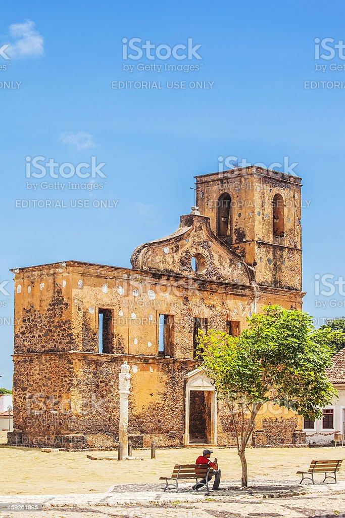 Old church ruins in Brazilian town. stock photo