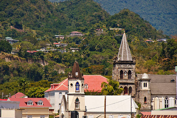 Old Church Steeples in Barbados stock photo