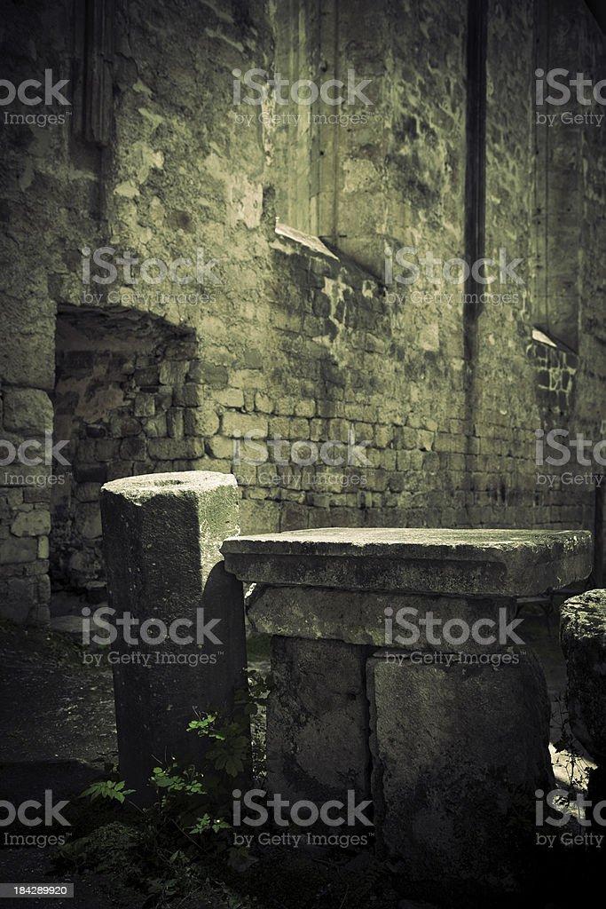 Old church stone altar royalty-free stock photo