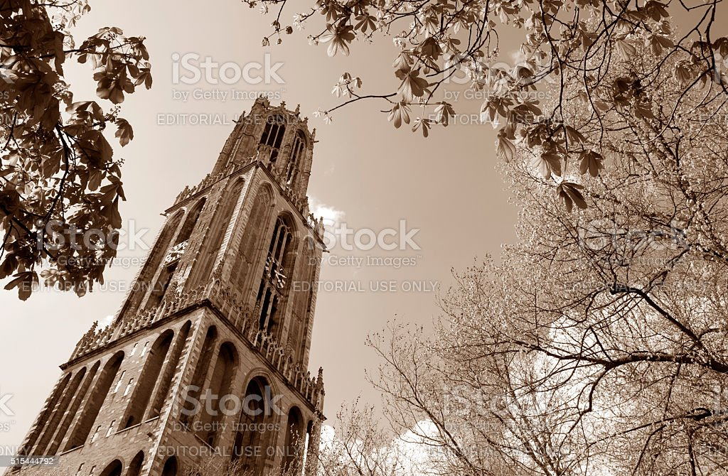 Old church tower stock photo