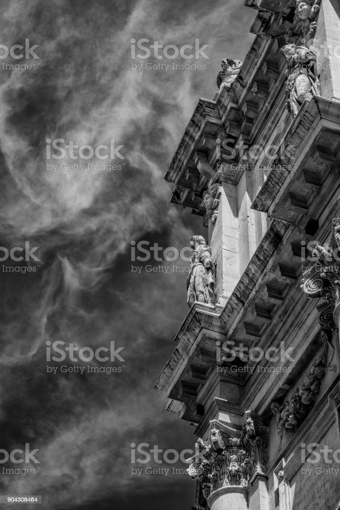 Old church with clouds (Black and White) stock photo