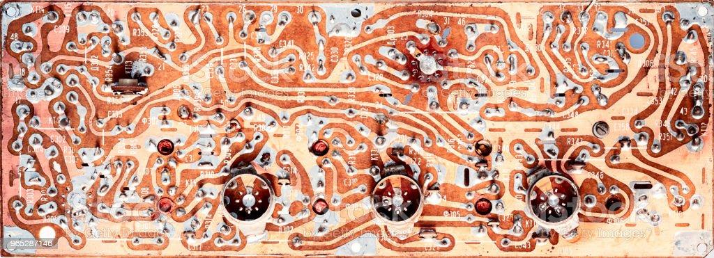 old circuit board isolated on white background zbiór zdjęć royalty-free
