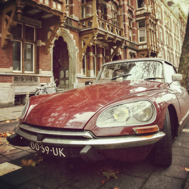 Old Citroen DS car on the streets of Amsterdam stock photo