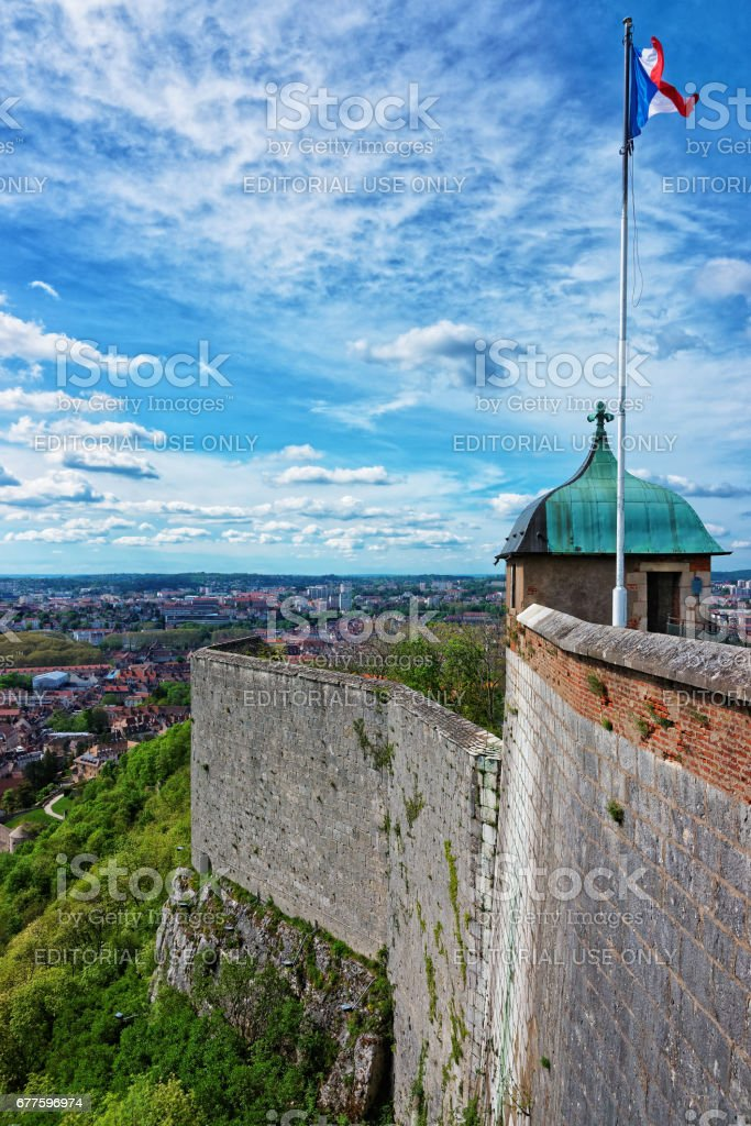 Old city and roofs with the tower and walls of citadel in  Besancon stock photo