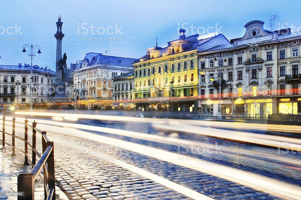 Old city at twilight stock photo