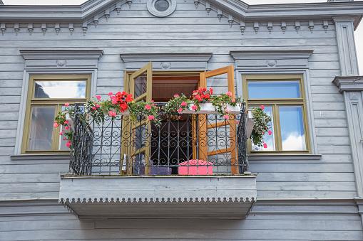 Old city center at Kuldiga, Latvia. It's history building. 2017