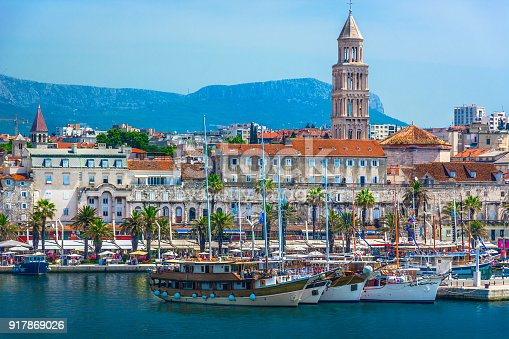 Seafront view at old city center in Split town, view from the Adriatic Sea, Croatia.