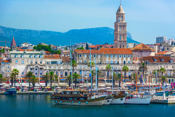 Old city center Split. Seafront view at old city center in Split town, view from the Adriatic Sea, Croatia. croatian culture stock pictures, royalty-free photos & images