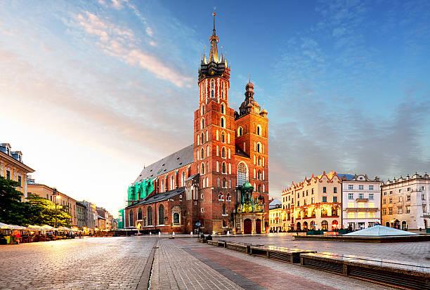 Old city center St. Mary's Basilica in Krakow stock photo