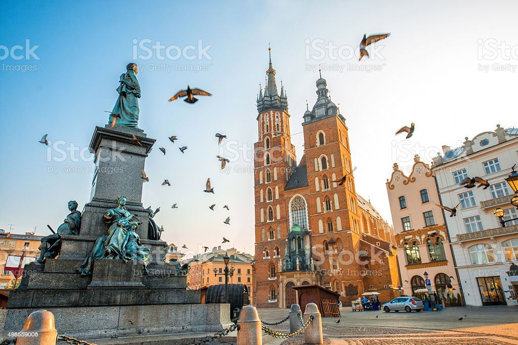 Old city center view in Krakow stock photo
