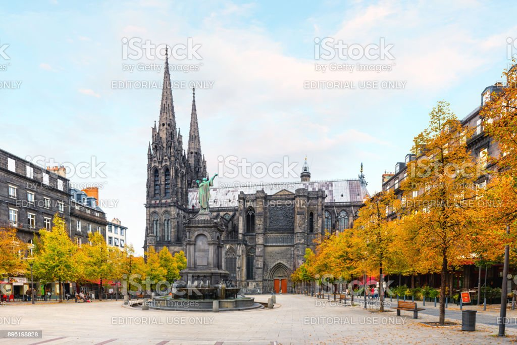 Old city centre of the Clermont Ferrand stock photo