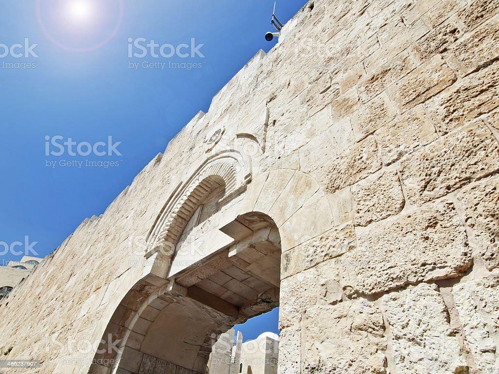 Old City gate, Old City Jerusalem Israel stock photo