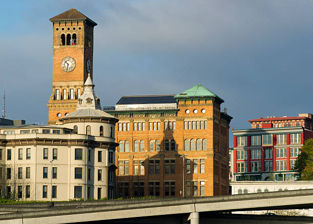 Old City Hall and Other Buildings Downtown Tacoma Washington The sun rises hitting the buildings of Downtown Tacoma Washington United States tacoma stock pictures, royalty-free photos & images