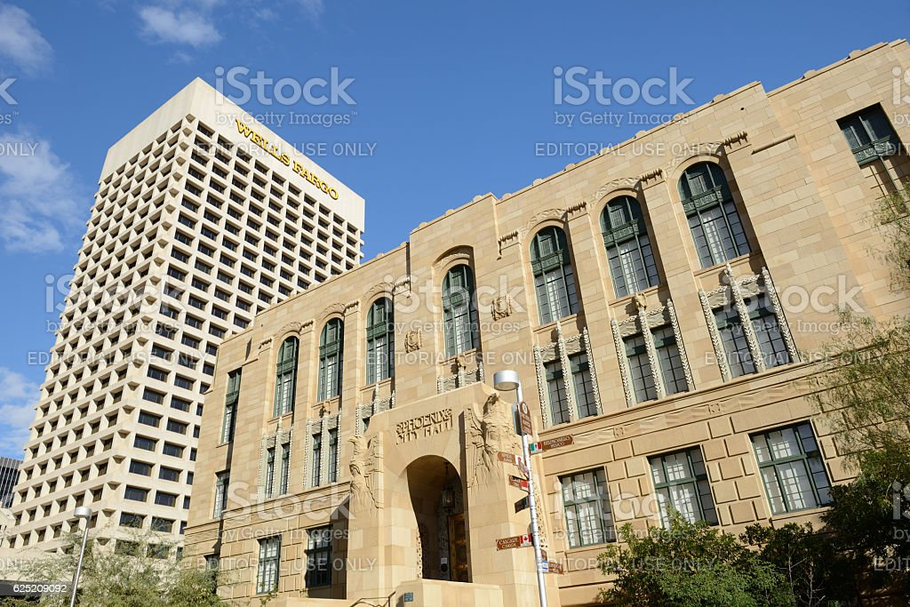 Old City Hall and Wells Fargo Building in Phoenix stock photo