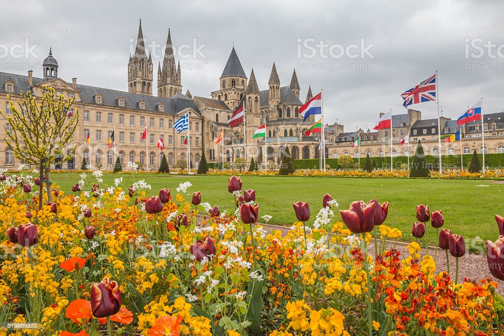 Old City hall in Caen Normandy stock photo