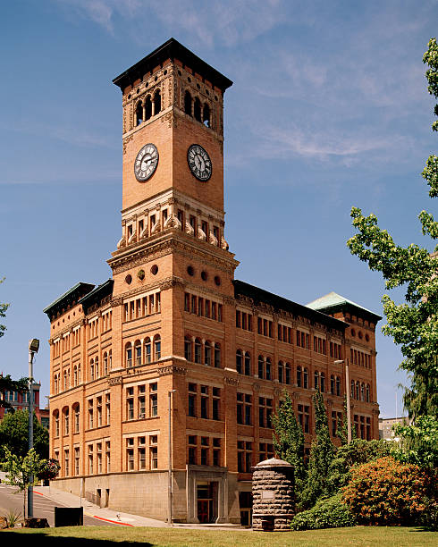 """Old City Hall, Tacoma, Washington, United States """"The historic City Hall building of this Pacific Northwest harbor city. Shot June 27, 2009 using 6x7 cm color negative film."""" tacoma stock pictures, royalty-free photos & images"""