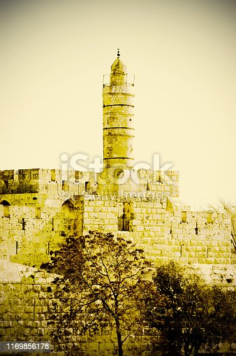 Part of the wall surrounding the Old City in Jerusalem, Israel. An important Jewish religious site. Retro style