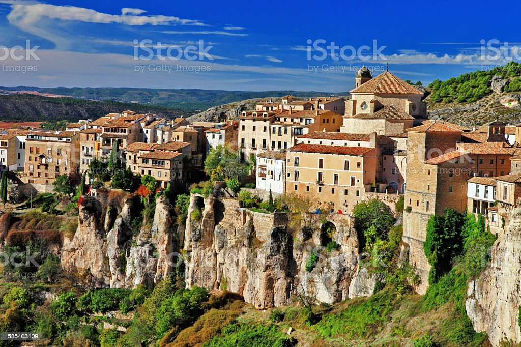 Old city in the rocks,Cuenca,Spain. stock photo