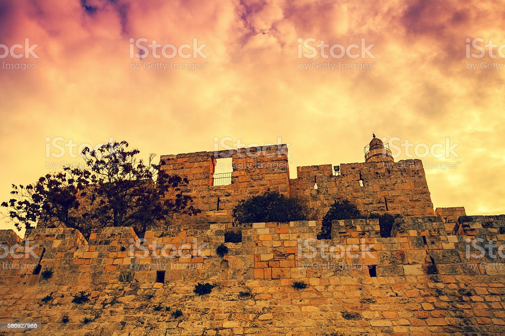 Old city Jerusalem at sunset stock photo