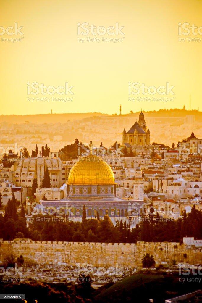Old City Jerusalem at sunset stock photo