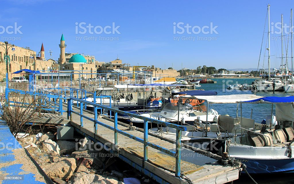 old city of Acre and its marina stock photo