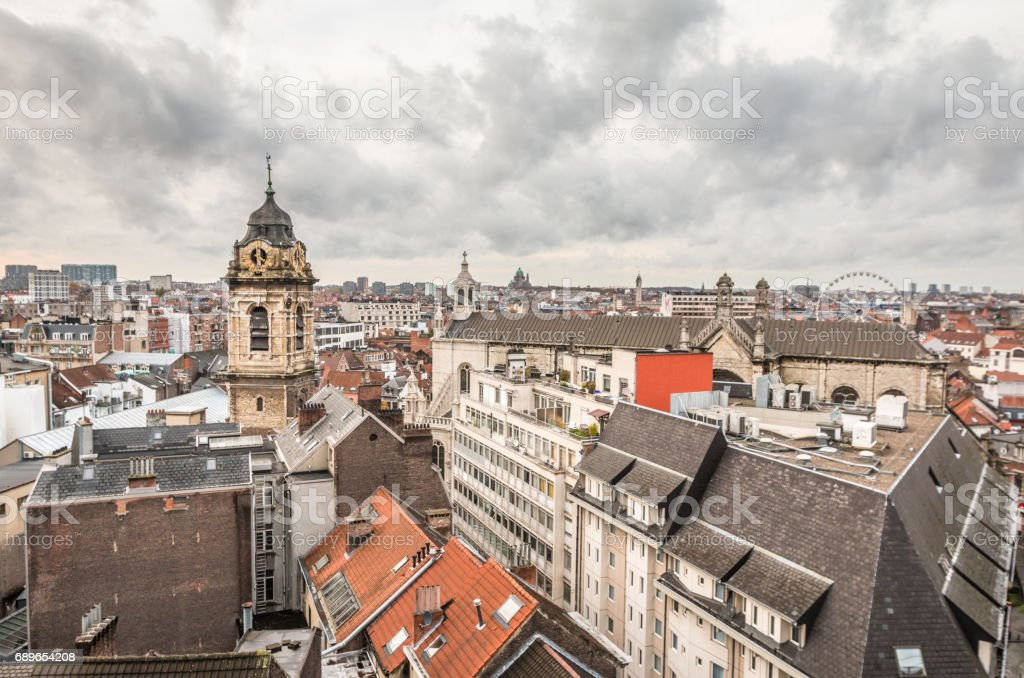 Old city of Brussels stock photo