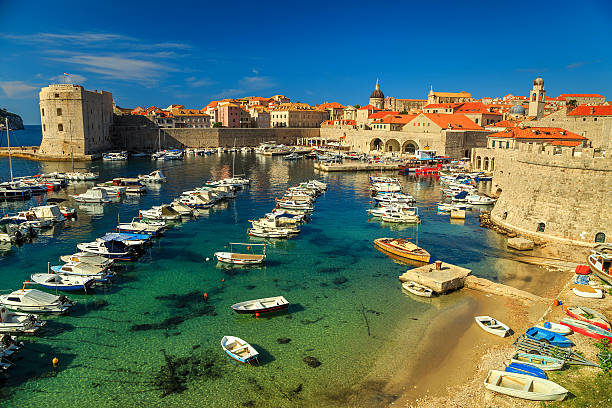 Old city of Dubrovnik panorama with colorful boats,Croatia,Europe stock photo