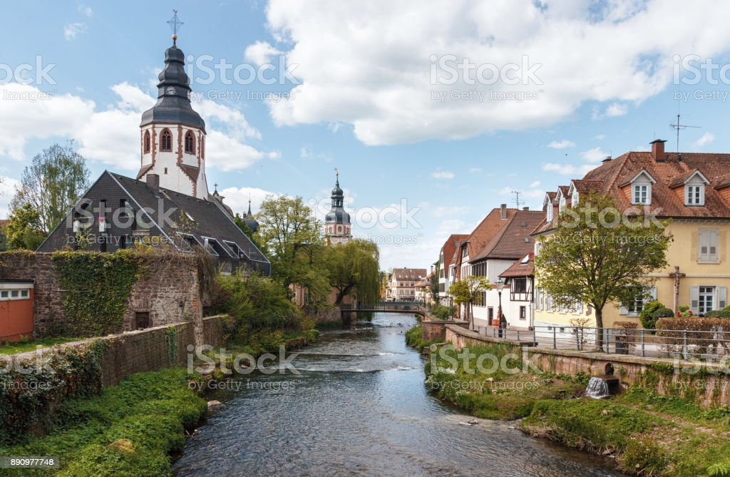 Old city of Ettlingen in Germany with a river and a church stock photo