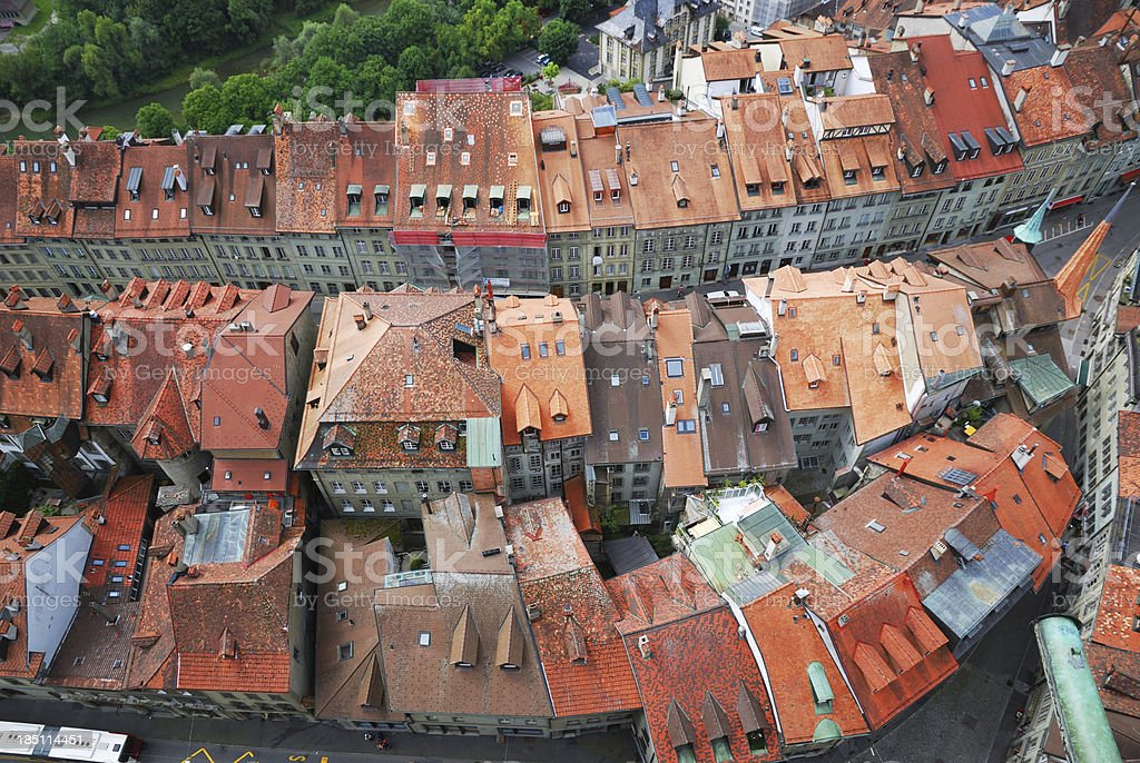 Old city of Fribourg from above. stock photo