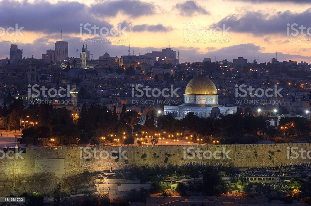 Old City of Jerusalem at sunset stock photo