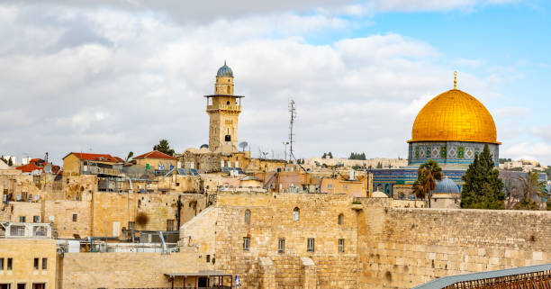 Old City of Jerusalem, Israel This pic shows the  Old City of Jerusalem and western wall in israel. The pic is taken at day time and with clear sky. The pic is taken in January 2019 muslim quarter stock pictures, royalty-free photos & images