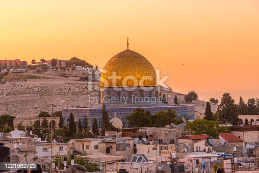 Dome of the Rock, view from the old city of Jerusalem with the Mount of Olives in the backgrounds