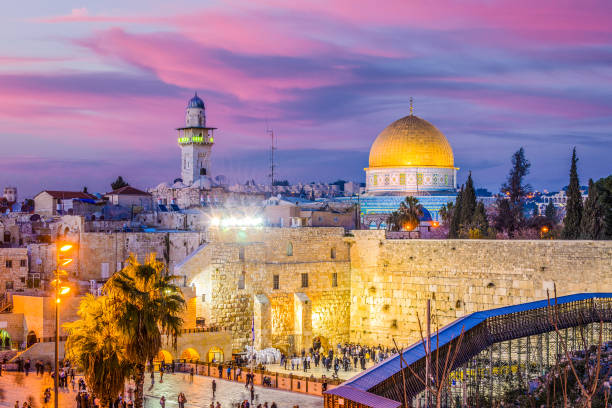 Old City of Jerusalem Skyline of the Old City at the Western Wall and Temple Mount in Jerusalem, Israel. dome of the rock stock pictures, royalty-free photos & images