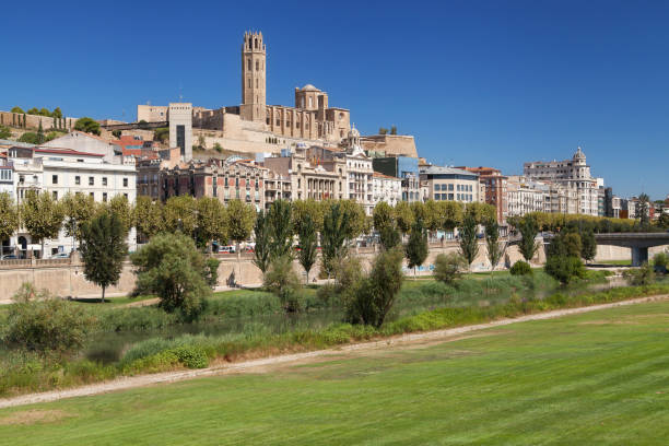 Old City of Lleida stock photo