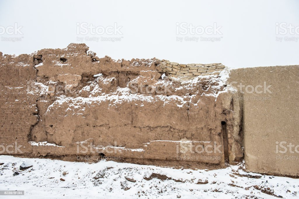 Old city of Nain in Iran in winter stock photo