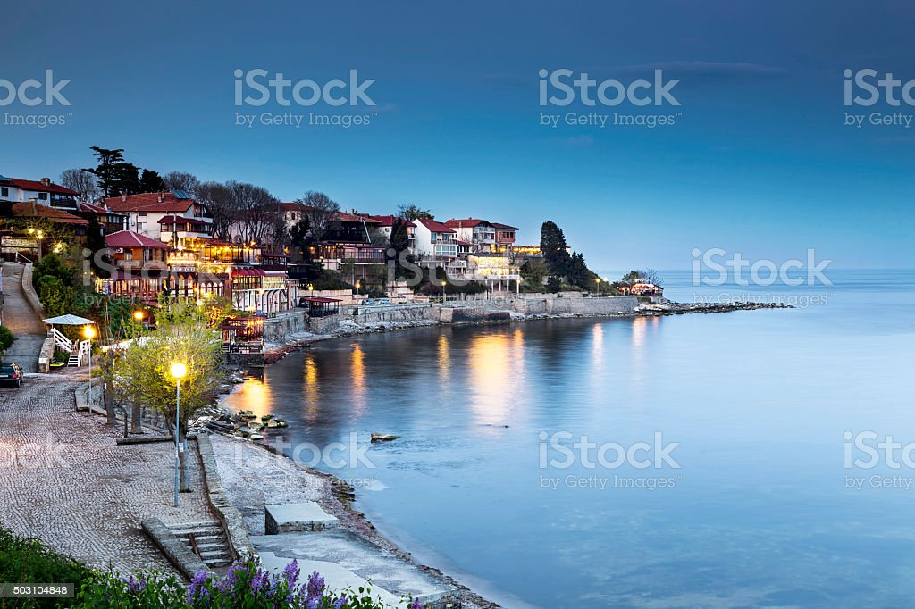 Old city of Nessebar night view stock photo
