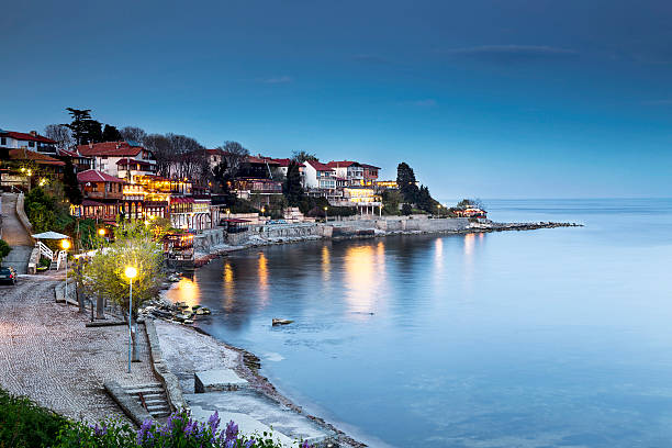 Old city of Nessebar night view Old city of Nessebar at night bulgaria stock pictures, royalty-free photos & images