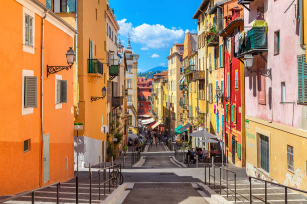 Old city of Nice, France. stock photo