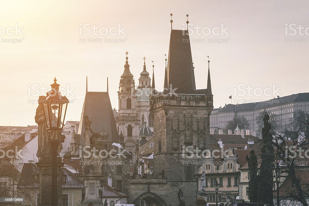 Old City of Prague with Castle and Towers stock photo