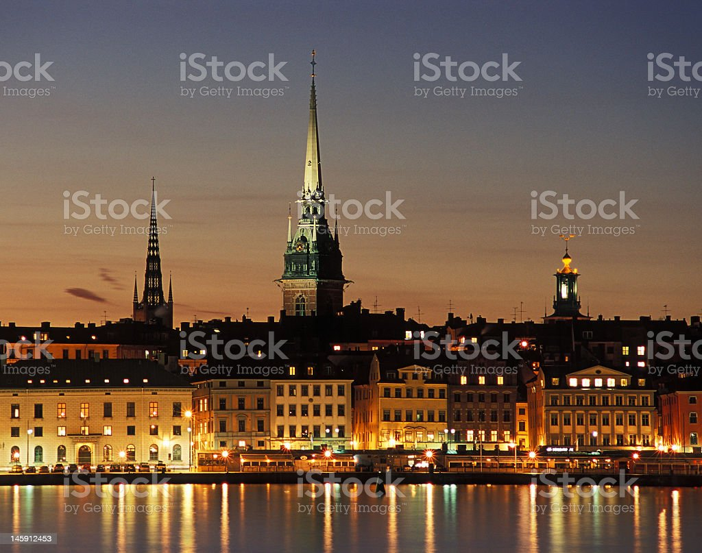 Old city of Stockholm at night stock photo